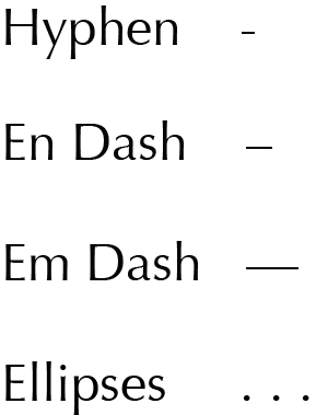 Dashes in English