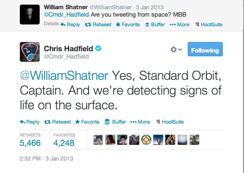 Chris Hadfield and William Shatner